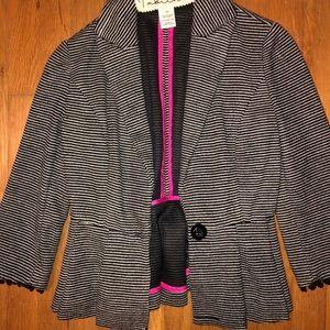 Black and white peplum blazer